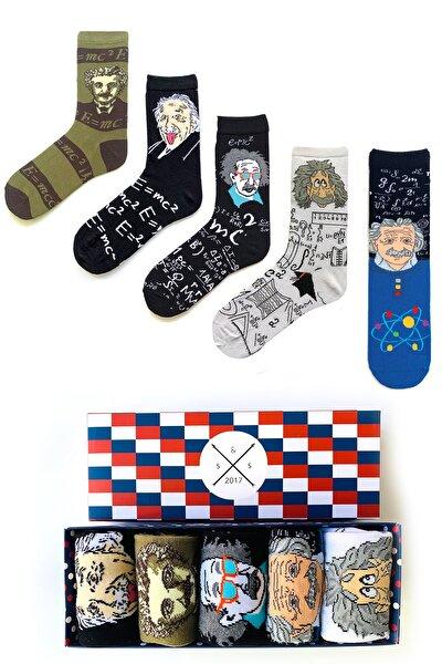 5'li Einstein Renkli Desenli Çorap Kutusu