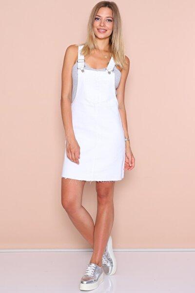 Kadın Beyaz Salopet Elbise