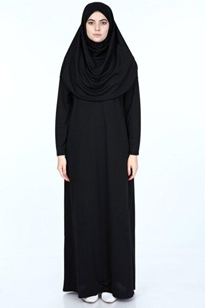 Kadın Siyah Başörtülü Pratik Namaz Elbisesi (Hediyeli)