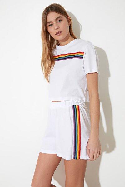 Beyaz Şerit Detaylı Örme Pijama Takımı THMSS21PT0081