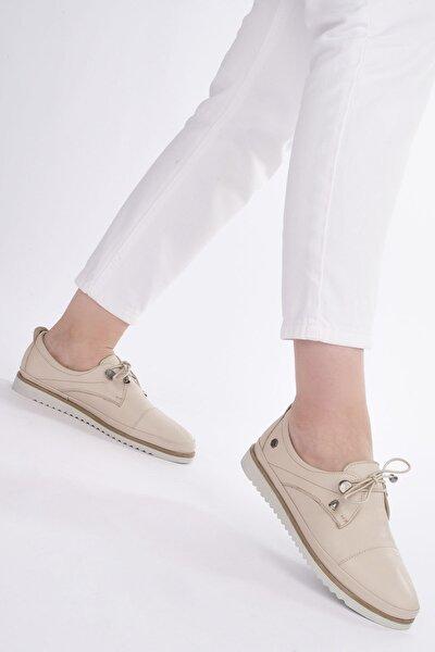 Kadın Bej Hakiki Deri Comfort Ayakkabı Demas