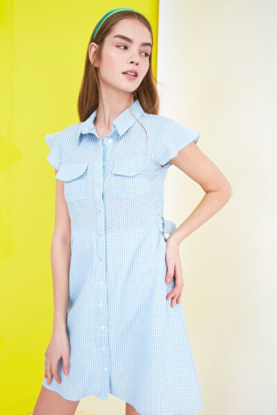 Mavi Kareli Gömlek Elbise TWOSS21EL1244