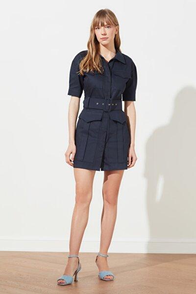 Lacivert Kemerli Cep Detaylı Elbise TWOSS21EL0487