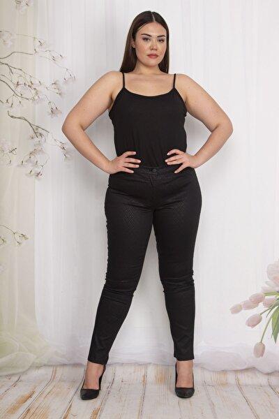 Kadın Siyah Kendinden Desenli Pantolon 65N22557