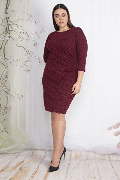 Kadın Bordo Bel Detaylı Elbise 65N22426