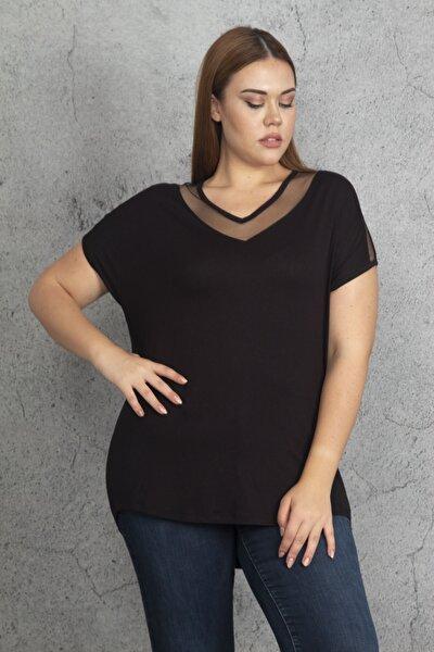 Kadın Siyah Yaka Ve Kolları Tül Detaylı Viskon Bluz 65N22482