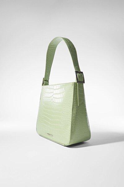 Kadın Yeşil Timsah Desenli Çanta 03466668