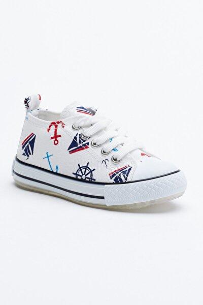 Beyaz Lacivert Çocuk Spor Ayakkabı Tb998
