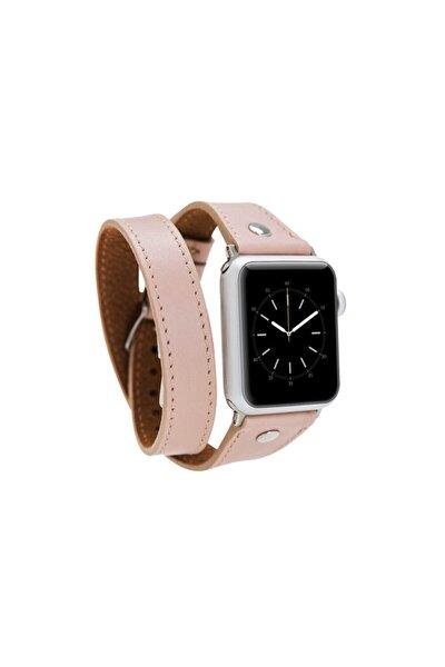 Apple Watch Deri Kordon 42-44 mm Pembe