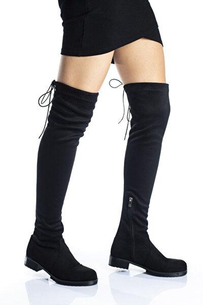 Kadın Siyah Süet Streç Diz Üstü Çorap Çizme