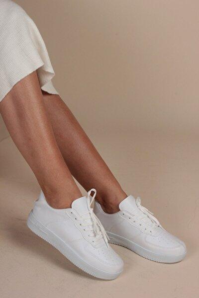 Beyaz Deri Air Tabanlı Sneaker Kadın