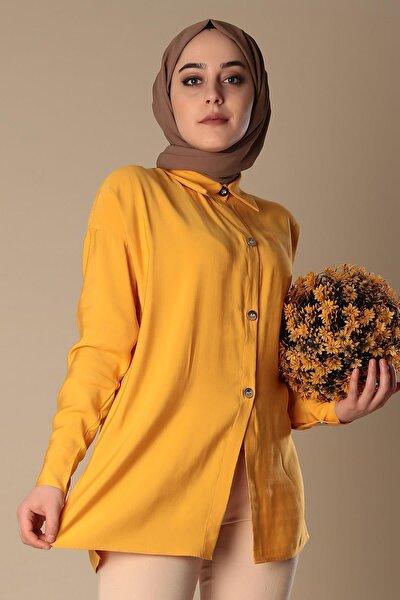 Kadın Sarı Metal Düğme Basıc Tunik