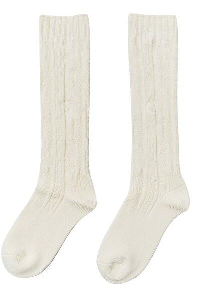 Kadın Ekru Uzun Çorap 00704011