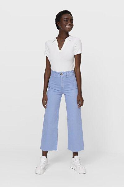 Kadın Açık Mavi Dikişsiz Fitilli Culotte Pantolon 01164445