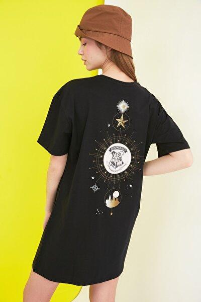 Siyah Harry Potter Lisanslı Baskılı Örme Elbise TWOSS21EL0104