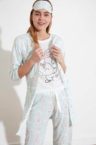 Mint Grafik Baskılı 4'lü Takım Örme Pijama Takımı THMSS21PT0028