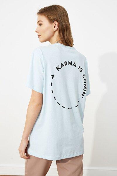 Açık Mavi Baskılı Boyfriend Örme T-Shirt TWOSS21TS0089