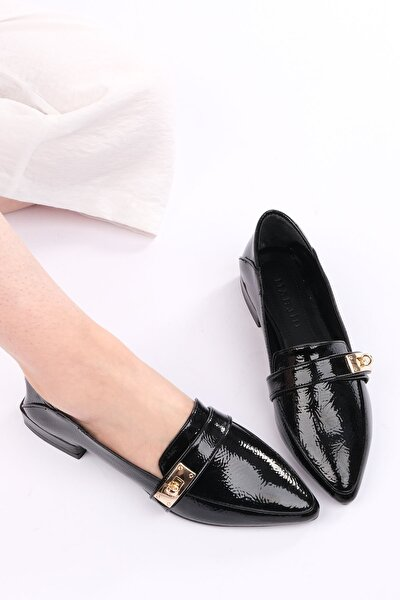 Kadın Siyah Rugan Loafer Ayakkabı Olvez