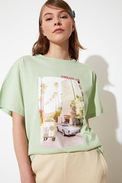 Mint Baskı ve Nakışlı Boyfriend Örme T-Shirt TWOSS20TS0574