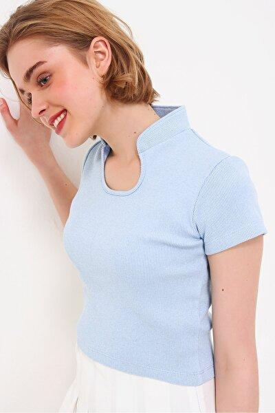 Kadın Mavi Hakim Yaka Kaşkorse Crop Bluz ALC-X5882
