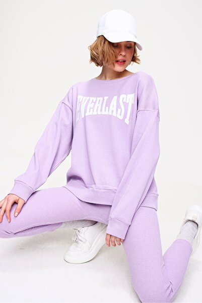 Kadın Lila Sweatshirt Örme Tayt İkili Takım ALC-X5890