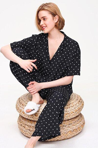 Kadın Siyah Yakalı Dokuma Pijama Takım ALC-X5895