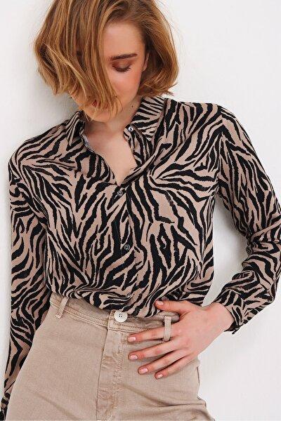 Kadın Vizon Zebra Desenli Basic Dokuma Gömlek ALC-X5853