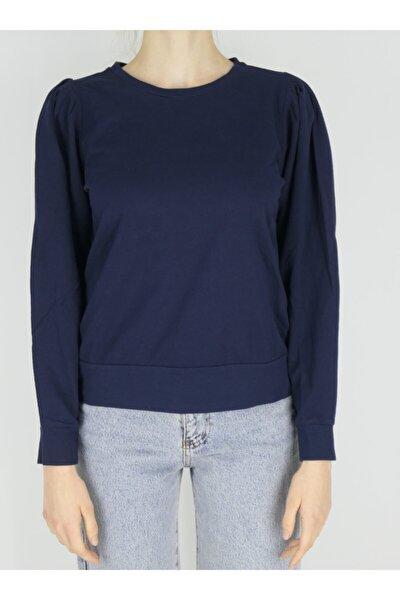Kadın Lacivert Omuz Pileli Sıfır Yaka Pamuklu Uzun Kollu Penye T-Shirt
