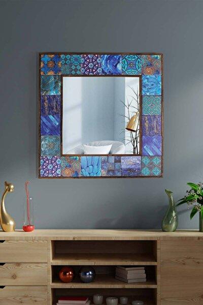 Amalfi Doğal Ağaç 62x62 Cm Çerçeveli Antik Limra Taş Kaplı Salon Duvar Konsol Boy Aynası