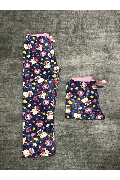Kız Çocuk Mavi Renk Kedi Baskılı Pijama Altı