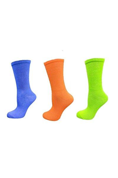 Kadın Soket Çorap 36-40 Neon Karışık Renkli Pamuklu 3'lü