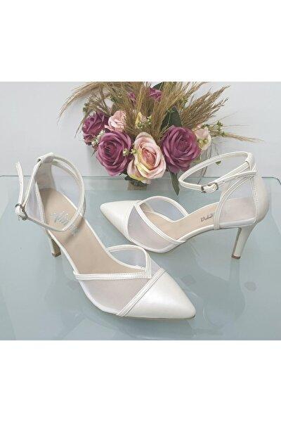Kadın Beyaz Sivri Topuklu Stiletto Abiye Ayakkabı Almeras001