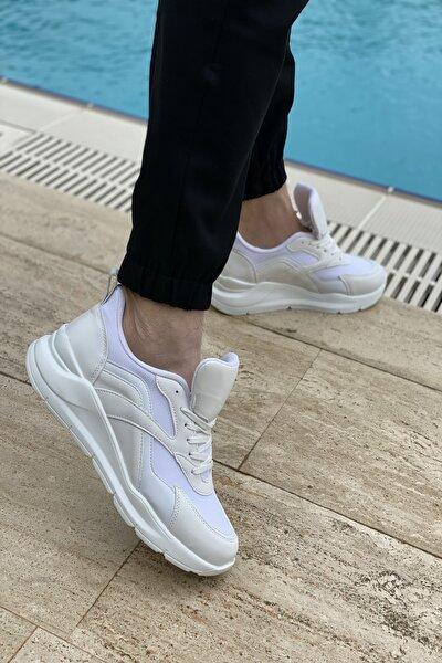Erkek Beyaz Kenarları Çapraz Şerit Çizgi Detaylı Sneaker