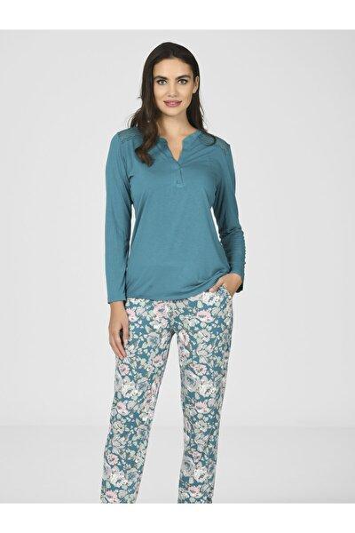 Kadın Omuz Dantelli Viscon Pijama Takımı 67021