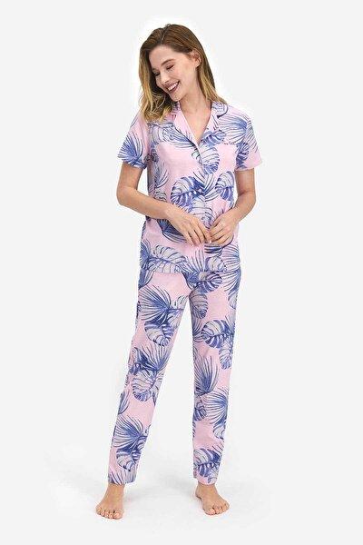 Leafy Toz Pembe Kadın Gömlek Pijama