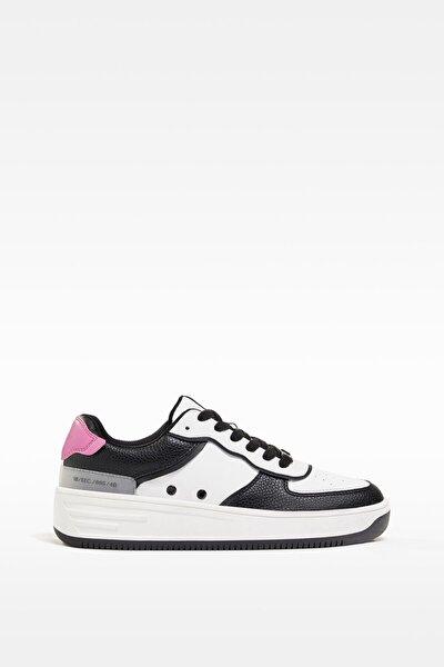 Kadın Beyaz Kontrast Kabartmalı Spor Ayakkabı