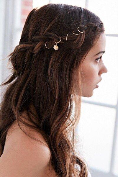 Kadın Sun Shine Gold Saç Küpe Seti