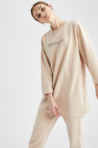 Modest Relax Fit Yazı Baskılı Sweat Tunik