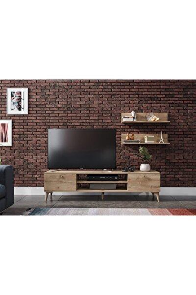 Kahverengi Meşe Raflı Tv Ünitesi 180cm
