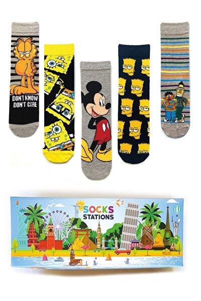 Unisex Renkli 5'li Çizgi Film Karekterleri Çorap Özel Kutusu