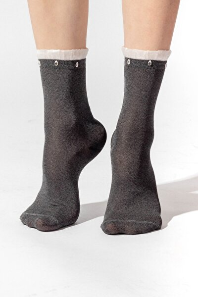 Ocean Odyssey Boncuklu Kadın Patik Çorap - Siyah