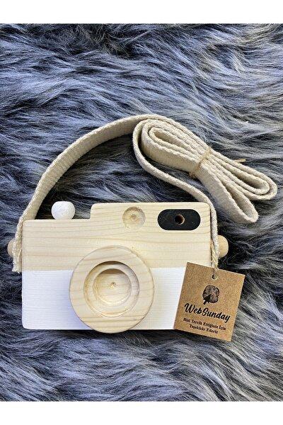 Ahşap Dekoratif Oyuncak Fotoğraf Makinesi - Beyaz