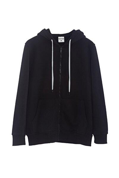 Siyah Kapüşonlu Fermuarlı Sweatshirt