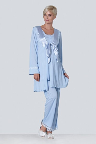 Kadın Mavi Hamile Lohusa Pijama 3'lü Takım