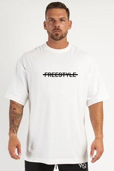 Erkek Beyaz Oversize Baskılı T-shirt
