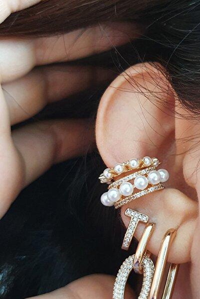 Incili 2li Monaco Set Kıkırdak Küpe ( Altın Kaplama ) ( Small Size Ear Cuff )