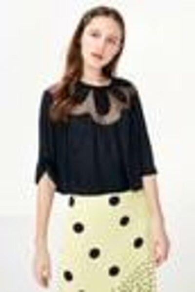 Kadın Siyah Çiçek Form Boncuk İş Bluz