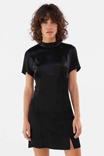 Kadın Siyah Saten Mini Elbise