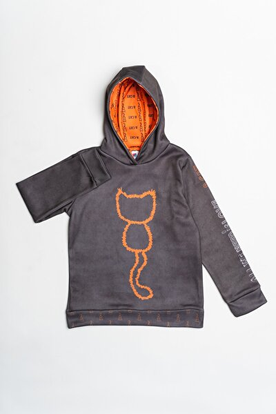 Kadın Gri Lisanslı Kedi Baskılı Kapüşonlu Sweatshirt