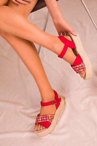 Kırmızı Süet Kadın Sandalet 14953